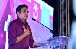 PPM's PG leader and Villimale MP Ahmed Nihan speaks at campaign rally of Ibrahim Faisal, PNC's candidate for Hulhumale constituency. PHOTO: NISHAN ALI/MIHAARU