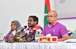 Senior members of Elections Commission holding a press conference regarding the 2019 parliamentary elections. PHOTO: HUSSAIN WAHEED / MIHAARU