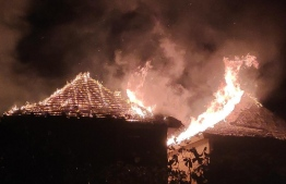 The fire that broke out in Casa Mia, a guesthouse in Mathiveri, on Sunday night. PHOTO: MIHAARU FILES