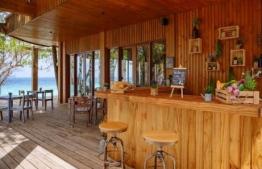 The timber-clad Wellness Cafe' and Juice Bar in Juvvu Spa of Amilla Fushi Resort. PHOTO: AMILLA FUSHI RESORT
