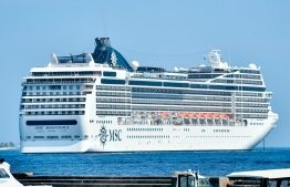 MSC Magnifica, the 965-foot passenger liner that arrived in Male' on Wednesday. PHOTO: NISHAN ALI / MIHAARU