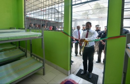 Home Minister Imran Abdulla opening the Detention Centre for illegal immigrants. PHOTO: HUSSAIN WAHEED/ MIHAARU