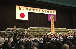 During the Memorial Service held in Ishinomaki City to mark 8 years since the 2011 Great East Japan Earthquake and Tsunami. PHOTO/THE EDITION