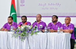 Press conference held by the Elections Commission (EC). PHOTO: NISHAN ALI/ MIHAARU