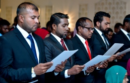 Photograph taken at the oathtaking ceremony for lawyers. PHOTO: NISHAN ALI/ MIHAARU