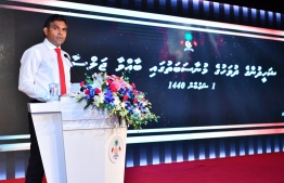 Vice President Faisal Naseem speaking at the ceremony to celebrate Martyr Day. PHOTO: PRESIDENT'S OFFICE
