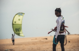 The young kiteboarding athlete Hassan Mahir. PHOTO: MOHAMED AHSAN