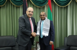 Minister of Foreign Affairs Abdulla Shahid meets with Palestinian non-resident Ambassador Walid A.M. Abu Ali. PHOTO: MINISTRY OF FOREIGN AFFAIRS