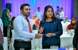 First Lady Fazna Ahmed and Minister of Health Abdulla Ameen launching the programme. PHOTO: NISHAN ALI / MIHAARU