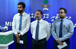 Minister of Home Affairs Imran Abdulla with some members of the prison audit commission. PHOTO: NISHAN ALI/MIHAARU