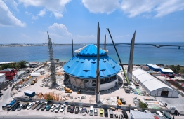 The site where construction is ongoing for the King Salman Mosque. PHOTO: HUSSEIN WAHEED/ MIHAARU