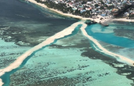 Land reclamation for the airport development project in Hoarafushi, Haa Alif Atoll, commenced on April 17, 2018. PHOTO: MIHAARU FILES