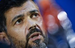 Porto's Portuguese coach Sergio Conceicao holds a press conference at the Dragao Stadium in Porto on April 16, 2019 on the eve of the UEFA Champions League quarter-final second leg football match between FC Porto and Liverpool. (Photo by MIGUEL RIOPA / AFP)