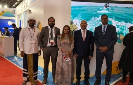 Some members of the Maldivian team participating in the tourism fair in Beijing, China. PHOTO: MMPRC