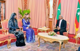President Ibrahim Mohamed Solih pictured with the two Ambassadors appointed on Thursday, Dr Farahnaz Faisal and Thilmeeza Hussain. PHOTO: PRESIDENT'S OFFICE