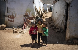 Syrian refugee children are pictured in an informal settlement near Terbol in the Bekaa Valley, Lebanon, April 12, 2019. PHOTO: UNICEF