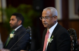 President Ibrahim Mohamed Solih speaking in the summit held with former Ministers of Health. PHOTO: NISHAN ALI / MIHAARU