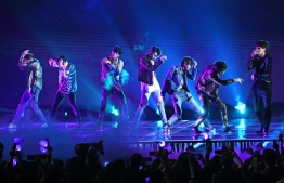 South Korean pop group BTS pictured during a performance. Photo: Kevin Winter/Getty Images
