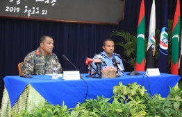 Chief of Defence Force Major General Abdulla Shamaal (L) and Commissioner of Police Mohamed Hameed hold press conference on national security, in the wake of the explosions in Sri Lanka on April 21, 2019. PHOTO/MNDF