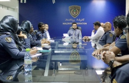 Discussions held in Maldives Immigration with Border Control Officers following the terror attacks in Sri Lanka. PHOTO: IMMIGRATION