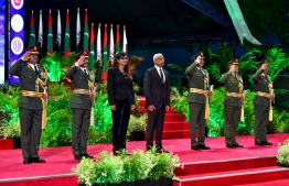 President Ibrahim Mohamed Solih and Minister of Defence and National Security Mariya Ahmed Didi at 127th Anniversary of MNDF PHOTO: NISHAN ALI/MIHAARU
