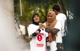Mother (L) and sister (R) of abducted Minivan News journalist Ahmed Rilwan. PHOTO: AHMED AIHAM / THE EDITION