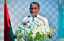 President of People's National Congress (PNC) Abdul Raheem speaking at the closing ceremony of the party's first congress. PHOTO: NISHAN ALI / MIHAARU