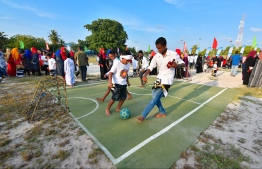 Youths take part in the football activities hosted at Mihaaru 'Sports Stars Fiesta'. PHOTO: HUSSAIN WAHEED / MIHAARU