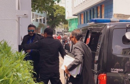 Former Vice President Ahmed Adeeb Abdul Ghafoor being summoned for the hearing at the Supreme Court. PHOTO: MIHAARU
