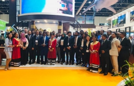 The team from Maldives, including travel agencies participating in the Arabian Travel Market fair. PHOTO: MMPRC