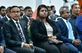 Attorney General Ibrahim Riffath (R) and Prosecutor General Aishath Bisham (M). PHOTO: NISHAN ALI/ MIHAARU