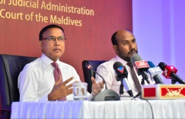 Chief Judicial Administrator of DJA, Dr Abdulla Nazeer and Judicial Academy's Chancellor Ahmed Maajid speak at press conference held by the DJA. PHOTO/MIHAARU