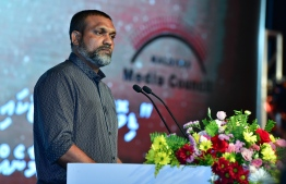 President of Maldives Media Council (MMC) Hidhaayathullah speaking at the event held in the Art Gallery by MMC on the occasion of World Press Freedom Day. PHOTO: NISHAN ALI / MIHAARU