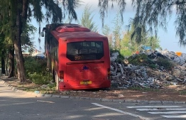 The Maldives Ports Limited (MPL) bus involved in the accident. PHOTO: MIHAARU