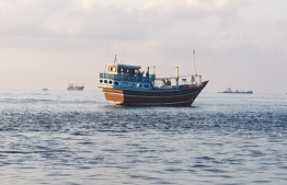 The Iranian boat stopped in Maldivian territory by Coast Guard on May 26. PHOTO: POLICE