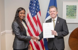 Maldivian Ambassador to the United States Thilmeeza Hussain presents her credentials to US State Department's Chief of Protocol, Ambassador Sean P. Lawler. PHOTO: EMBASSY OF MALDIVES TO UNITED STATES