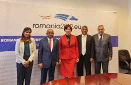 Members of the Maldivian diplomatic team and top Romanian diplomats. PHOTO: MINISTRY OF FOREIGN AFFAIRS.