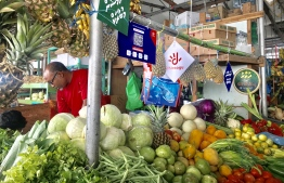 A stall at the local market which accepts the electronic wallet and mobile pay system 'Dhiraagu Pay'. PHOTO: MIHAARU
