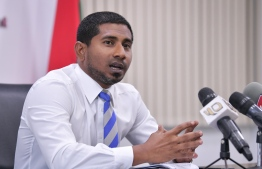 Minister of Youth, Sports and Community Empowerment speaking during a press conference. PHOTO: NISHAN ALI/ MIHAARU