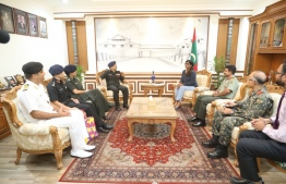 Minister of Defense Mariya Ahmed Didi meeting with the delegation from the Indian Armed Forces.PHOTO: MALDIVES NATIONAL DEFENCE FORCE (MNDF)