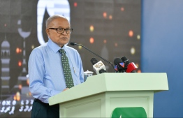 Former President Maumoon Abdul Gayoom speaking at the Maumoon Foundation's 'Ihya' Programme. PHOTO: HUSSAIN WAHEED / MIHAARU