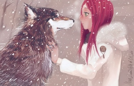 Girl and the Wolf. ILLUSTRATION: MEDLIH / DEVIANTART