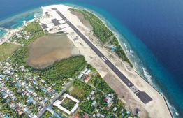 Aerial photograph of Kulhudhuffushi which shows the remaining portion of the mangrove wetland alongside the airport runway. PHOTO/IRUSHAD