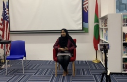 Aisha Hussain Rasheed speaking at the American Center of Maldives (ACM). PHOTO: ABDULLA RAYYAN