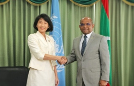 UNDP Resident Representative Akiko Fujii and Minister of Foreign Affairs Abdulla Shahid. PHOTO: MINISTRY OF FOREIGN AFFAIRS