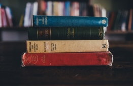 Stack of novels on a library table. PHOTO: ANNIE SPRATT/UNSPLASH