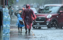 Heavy rainfall in the capital city of Male' during May 2019. PHOTO: NISHAN ALI/ MIHAARU