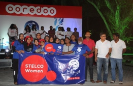 The female team of State Electric Company Limited (STELCO) which won the women-only round of the Ooredoo Masrace. PHOTO: OOREDOO MALDIVES