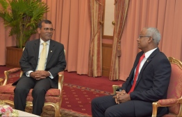 President Ibrahim Mohamed Solih congratulates former President Mohamed Nasheed on being elected as speaker of parliament. PHOTO: PRESIDENTS OFFICE