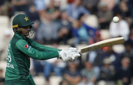 (FILES) In this file photo taken on May 11, 2019, Pakistan's Fakhar Zaman bats during the second One Day International (ODI) cricket match between England and Pakistan at The Ageas Bowl in Southampton. - Fakhar Zaman was still establishing himself in the Pakistan team when Jasprit Bumrah's no-ball in the Champions Trophy final triggered his unlikely rise from navy sailor to World Cup talisman. (Photo by Ian KINGTON / AFP) /
